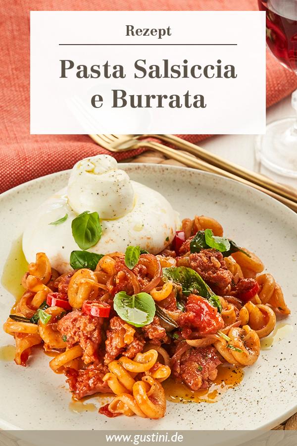 Pasta Salsiccia Burrata - Infografik für Pinterest