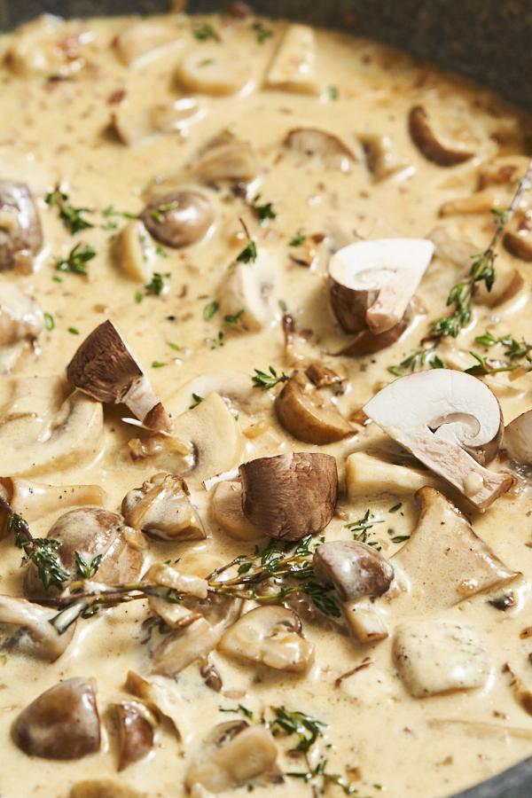 Pilze in Sahnesauce